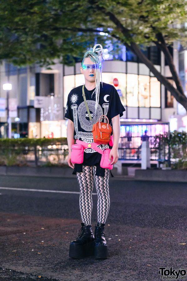 Harajuku Streetwear Style w/ Braided Hairstyle, LED Visor Glasses, Blue Lipstick, KTZ Shirt, Chevron Print Tights, Acne Studios, Cyberdog & Platform Boots