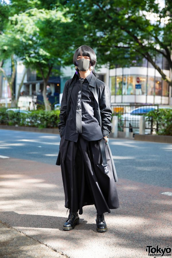All Black Tokyo Menswear Style w/ Pageboy Hairstyle, Handmade Mahjong Tassel Earrings, Y-3, Yohji Yamamoto, Y's, SAAD, Ground Y Tote & Dr. Martens