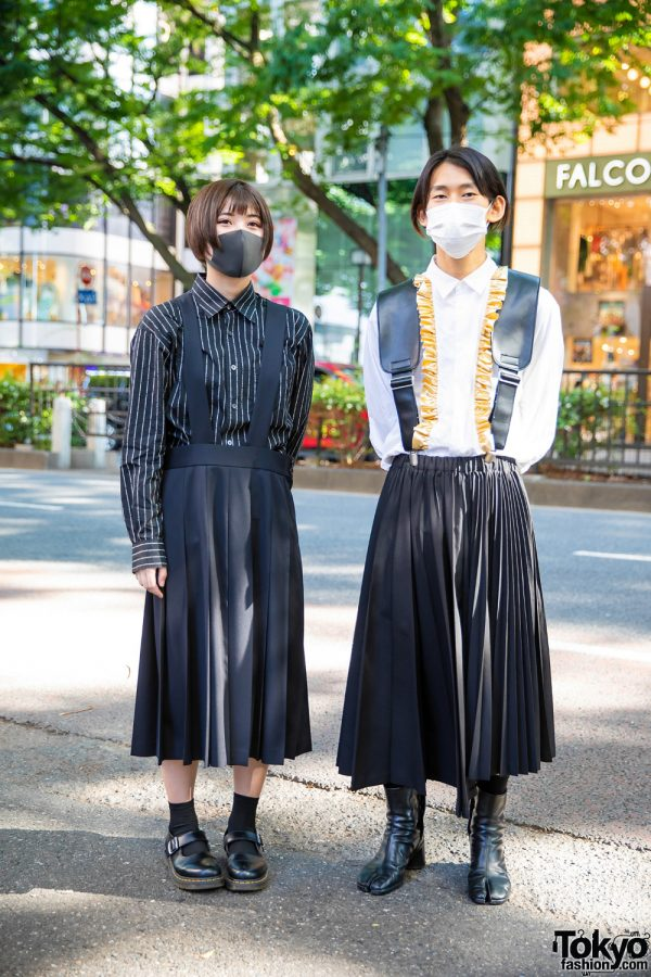 Students in Coordinated Monochrome Fashion w/ Comme Des Garcons Pleated Skirts, Long Sleeve Shirts & Black Leather Shoes