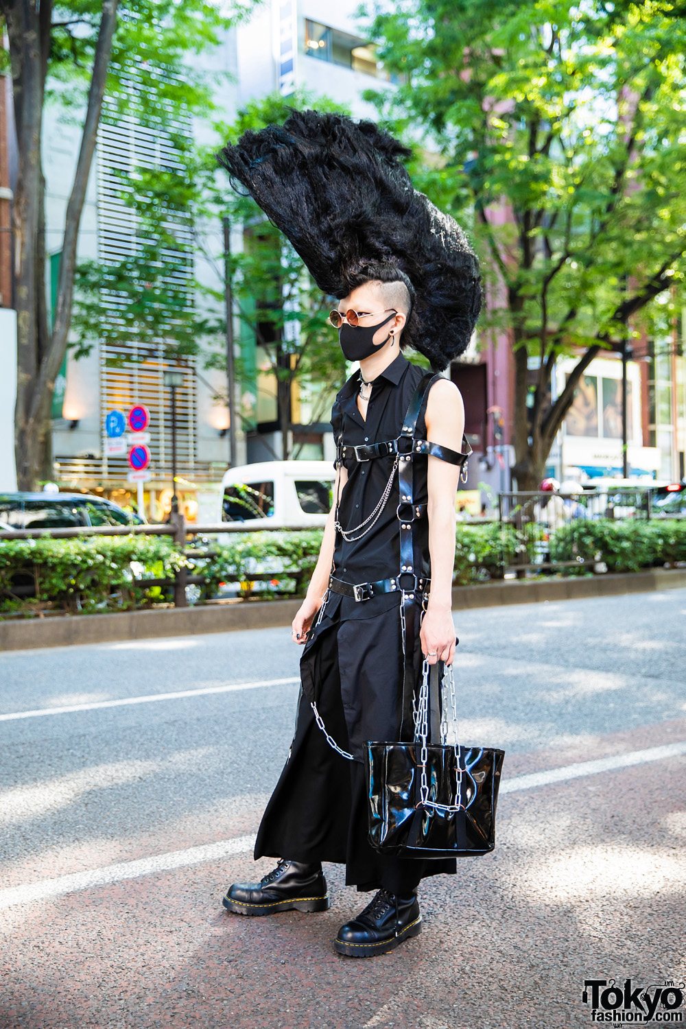 Harajuku Punk Fashion w/ Tall Mohawk, Remake Shirt, Lad Musician Skirt, Dr. Martens Boots, Handmade Body Harness & Vinyl Bag