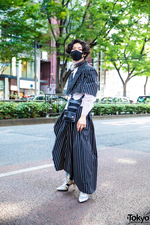 Harajuku Street Style w/ Vaquera Pinstripe Suit, Vintage Long Sleeves, Henrik Vibskov Bag, United Nude Booties & Charles Jeffrey Loverboy Spike Necklace