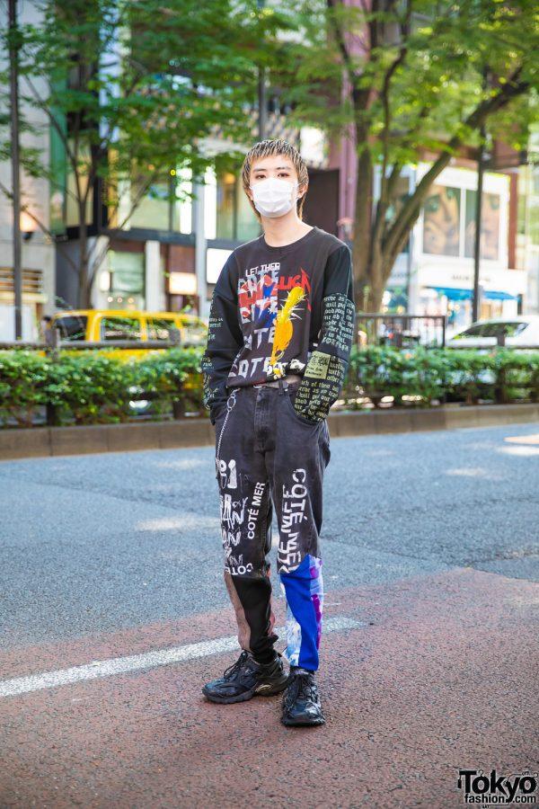 Harajuku Model in Cote Mer Graphic Streetwear Style w/ Face Mask, Half Print Metallica Sweatshirt, Logo Print Pants & Balenciaga Track.2 Sneakers