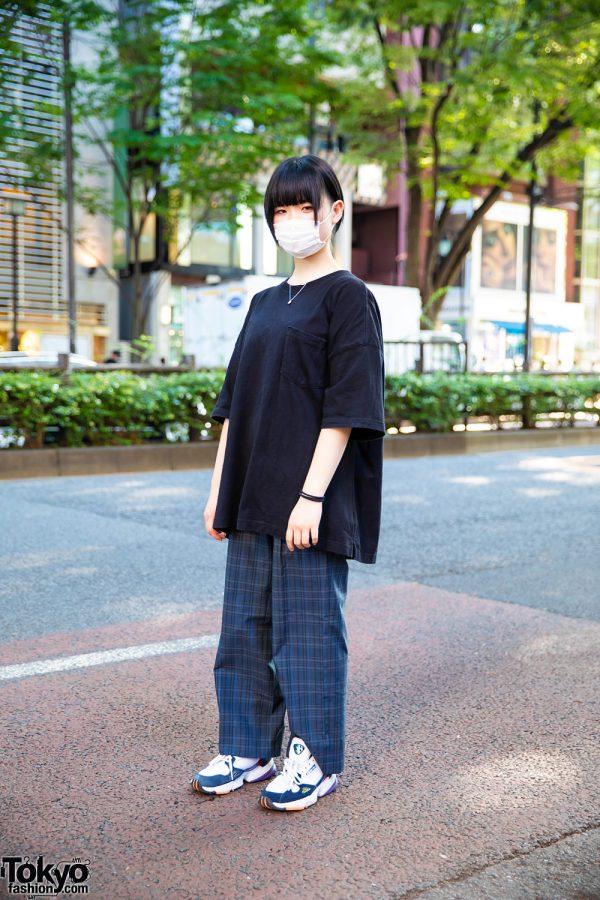 Casual Street Style in Harajuku w/ Undercut Fringed Ponytail, Face Mask, Oversized Pocket T-Shirt, Plaid Pants & Adidas Chunky Sneakers