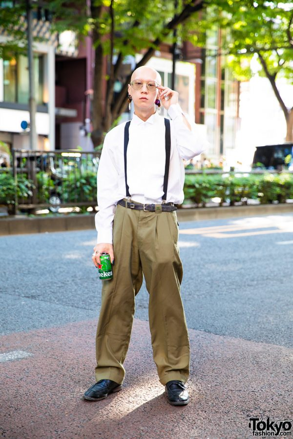 Dapper Street Style w/ Bull Horn Earrings, Vintage Pleated Shirt, Burberry Khaki Pants, Suspenders & Saint Laurent Loafers