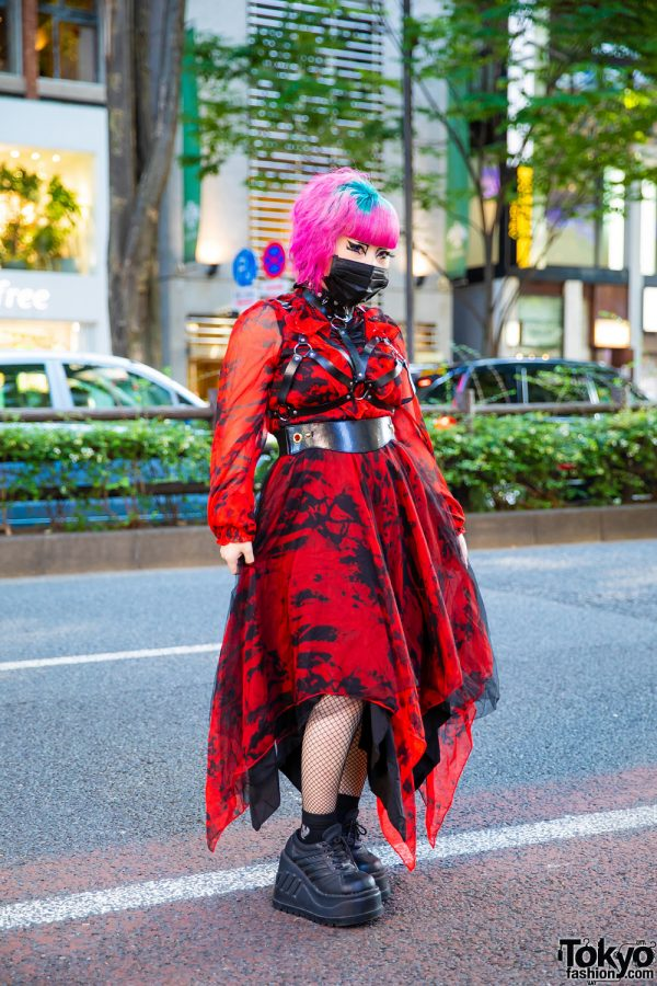 Harajuku Graphic Streetwear Style w/ Tri-Color Undercut, Purple Contacts, Black Eye Makeup, Punk Rave Handkerchief Dress, Fishnets, Leather Harness & Demonia Platforms