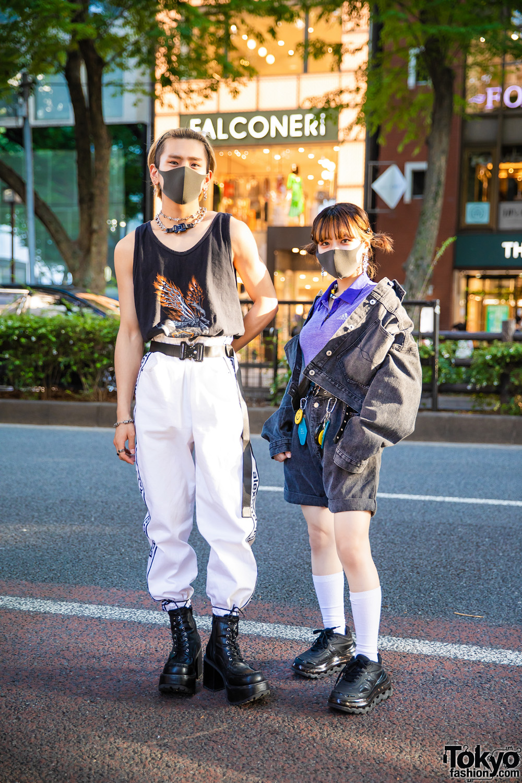Harajuku Duo w/ Face Masks, 1017 Alyx 9SM Accessories, Harley Davidson, Adidas, Alexander Wang Track Pants, (ME) Harajuku Denim Jacket, Kinji, Yosuke Boots & Shoes 53045