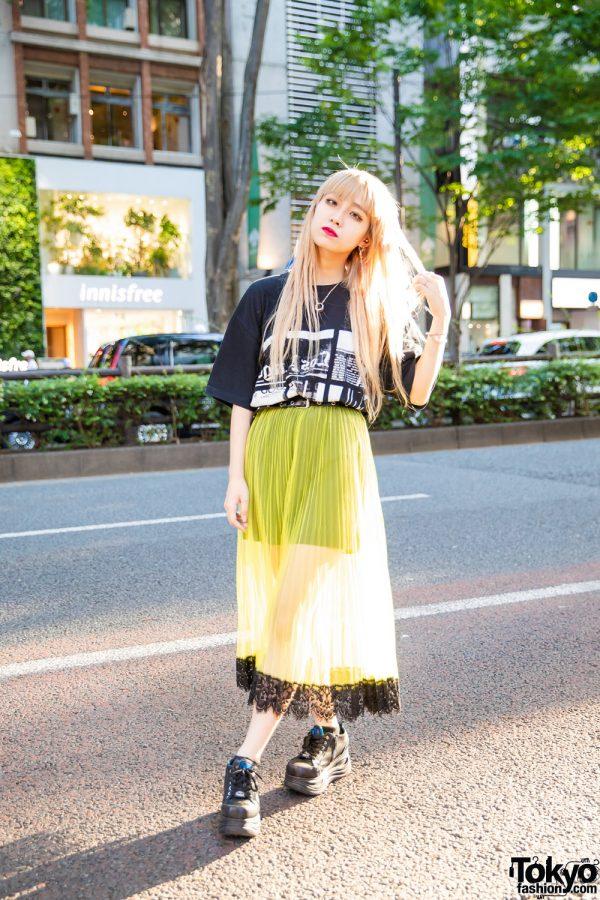 Tokyo Girl Street Style in Cote Mer Graphic Shirt, Armani Exchange Sheer Skirt, Yosuke Platform Shoes & Bless Jewelry