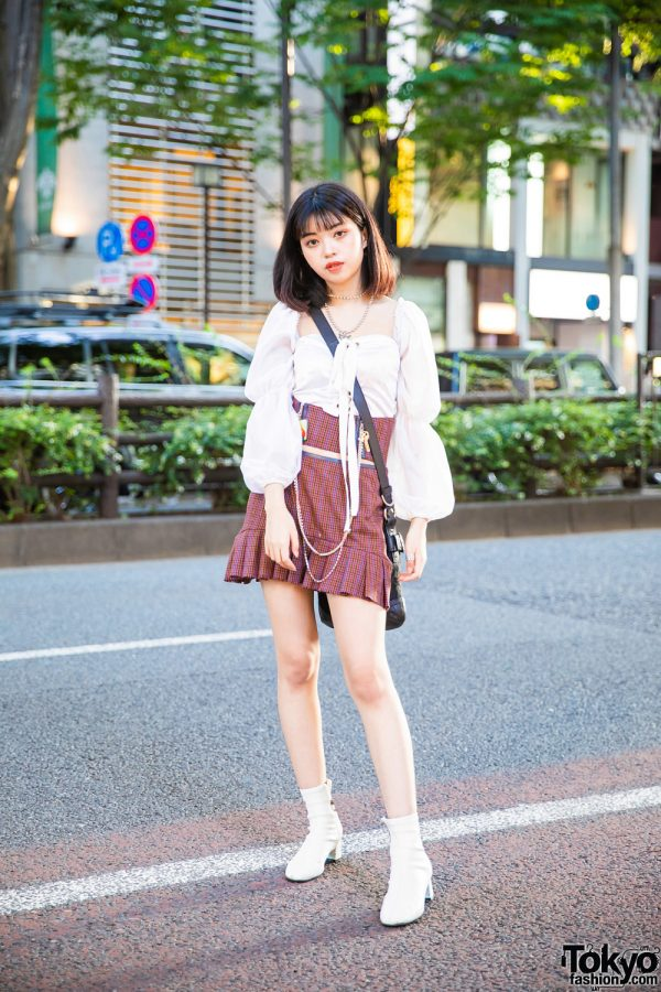 Tokyo Girl Plaid Fashion w/ Ruffled Long Sleeves, Nodress Plaid Skirt, Coach Crossbody Bag, White Boots & Unperfect Accessories