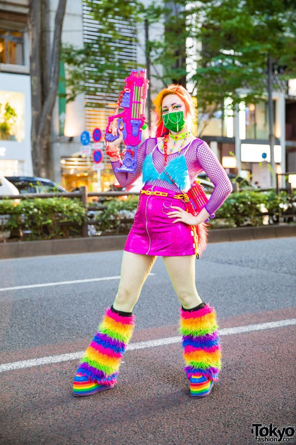 Harajuku Rainbow Fashion w/ Colorful Hair, Inked Doll Cosmetics, Daiso Water Guns, Spencer's, Kol Me Baby Mini Skirt, Handmade Fashion & YRU Rainbow Platforms