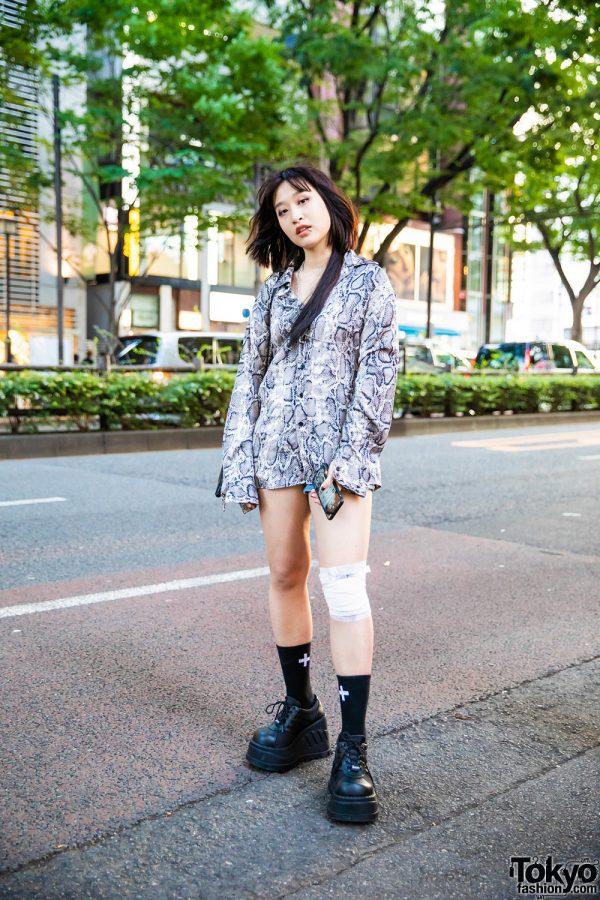 Harajuku Girl Streetwear Style w/ Lip Ring, Dermal Piercing, Chain Harness, Snakeskin Print Shirt, Sling Bag & Demonia Platform Shoes