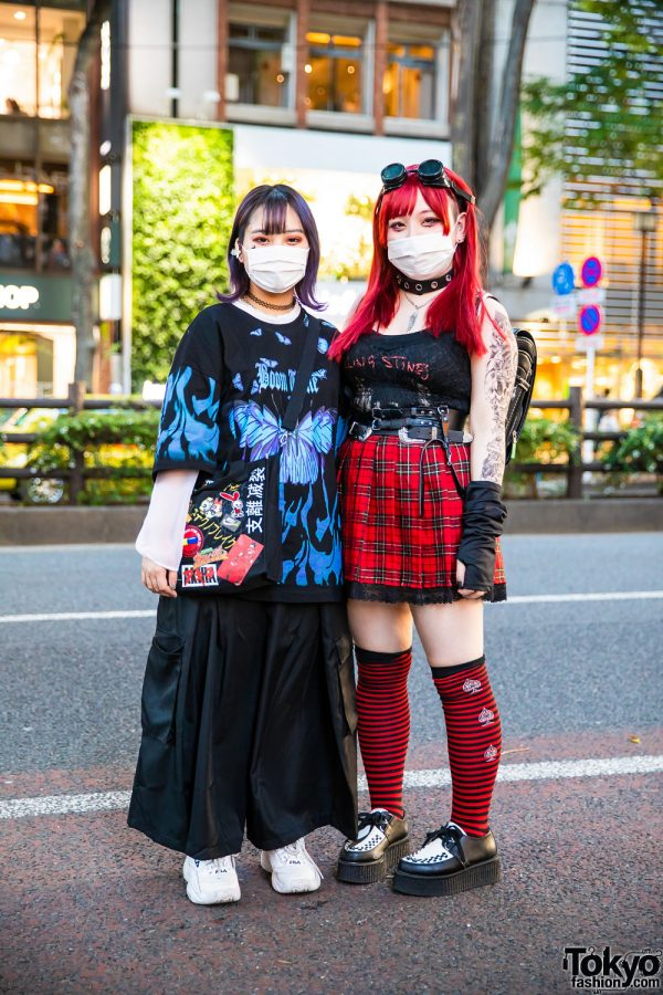 Tokyo Girls Streetwear Styles w/ Colored Hair, Goggles, Tattoos, Rolling Stones Tank Top, Handmade Bag, Randoseru, Spinns Accessories, FILA Sneakers & Lover Soul Creepers