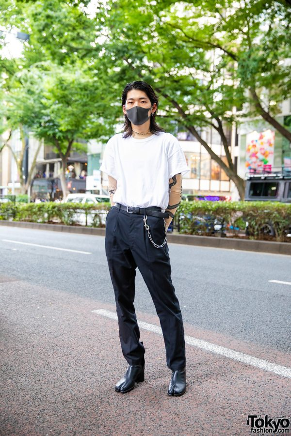 Harajuku Guy in Acne Studios Shirt, Vetements Tattoo Undershirt, Maison Margiela Tibi Boots and Chrome Hearts Accessories