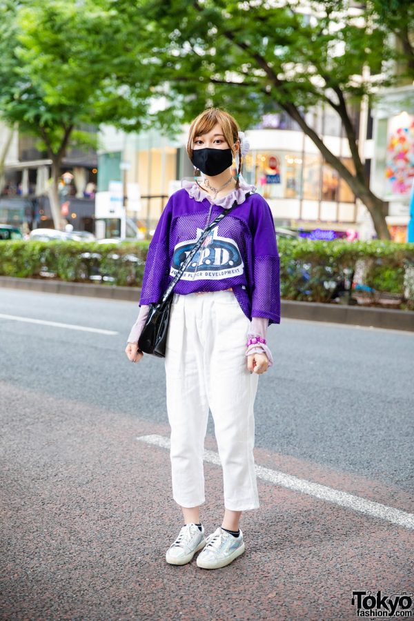 Harajuku Street Style w/ Twin Buns, Face Mask, NFL Jersey Shirt, Mocha Cropped Pants, X-Girl Sling Bag & Iridescent Sneakers