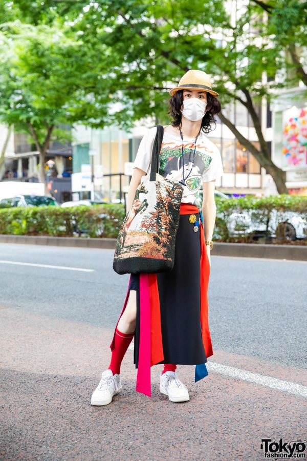 Harajuku Style w/ Backlash Straw Hat, Vintage Betty Boop Shirt, Scai Multicolor Skirt, Phenomenon Tote & Nike Sneakers