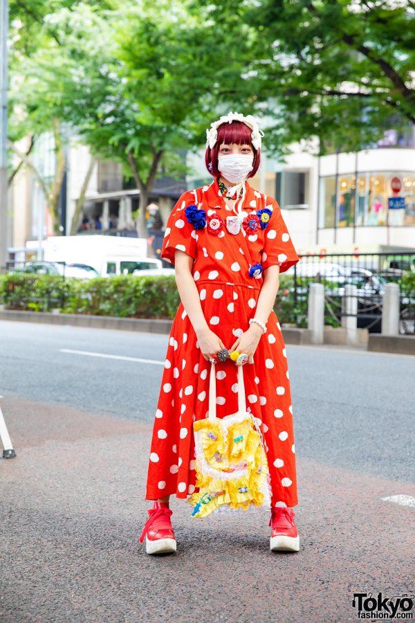 Polka Dots Japanese Street Style w/ Baby, The Stars Shine Bright Bows, Pom Pom Earrings, Handmade Bags & Tokyo Bopper Sneakers