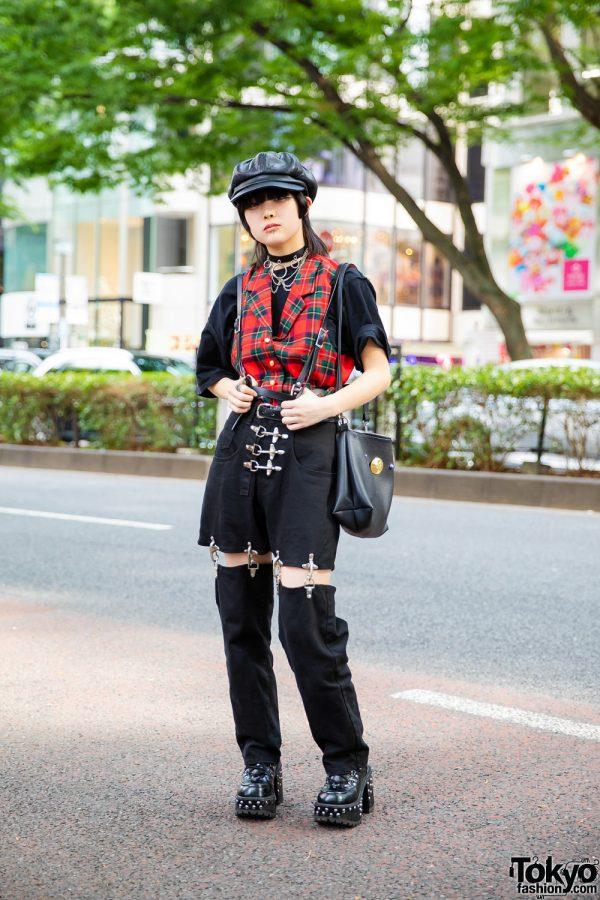 Harajuku Girl Street Style w/ Newsboy Cap, Lip Piercings, Plaid Vest, Leather Harness, Pink House, (ME) Harajuku, MYOB Convertible Pants, Kobinai & Yosuke Studded Boots