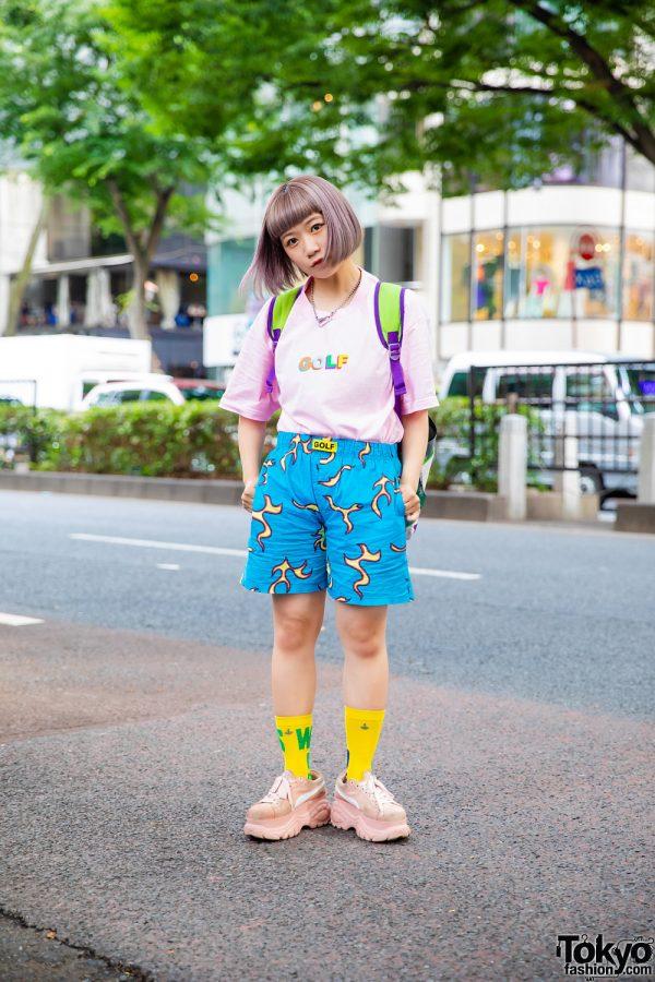 Tempura Kidz Dancer Karin in Golf Wang Shirt, Golf Wang Shorts, Puma X Buffalo Sneakers & Buzz Lightyear Backpack