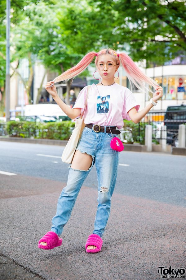 Pink Twin Tails Harajuku Street Style w/ FR2 RoboCop T-Shirt, GYDA Cutout Jeans, Hotel New York & Ugg Fuzzy Slippers