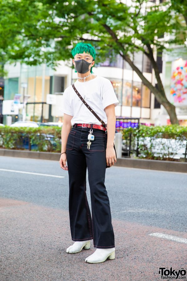 Tokyo Street Style w/ Emerald Green Hair, Black Face Mask, Faith Tokyo, Calvin Klein Cuffed Shirt, D&G Crossbody Bag, Flared Jeans & Tabi Boots