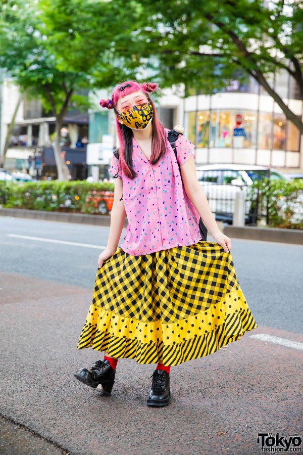 Japanese Cartoonist in Resale Street Style w/ Pink Twin Buns, Confetti Print Shirt, Multi-Print Maxi Skirt, Ben Davis Backpack & Leather Boots