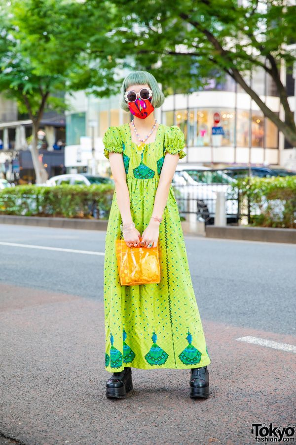 Fun Harajuku Kawaii Style w/ Green Fringed Bob, Sunflower Sunglasses, Printed Face Mask, Star Necklace, 6%DokiDoki, Resale Maxi Dress & Yosuke Platforms