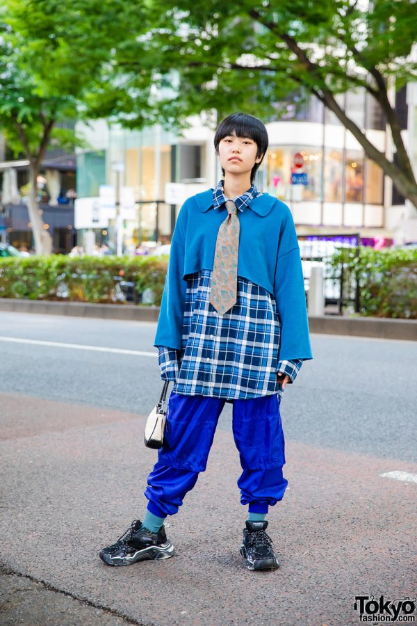 Blue Layered Streetwear Look In Tokyo w/ Pageboy Cut, Floral Print Necktie, Gap Plaid Shirt, Adidas Track Pants, Coach Handbag & Anti Old School Chunky Sneakers