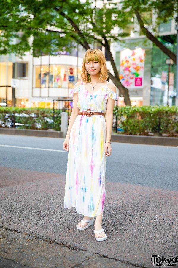 Harajuku Girl  Style w/ Curly Bob, Bless Accessories, Braided Belt, Cecil McBee Cutout Shoulder Maxi Dress & White Wedge Sandals