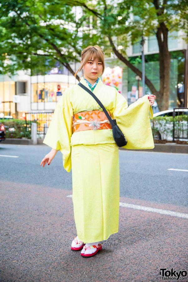 Japanese Kimono Street Style w/ Braided Updo, Resale Komon Kimono, Cat Bag, Tabi Socks & Geta Sandals