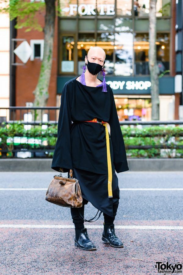 All Black Japanese Streetwear Style w/ Bizenart Mask, Industrial Piercing, Tassel Earrings, Balenciaga, Yohji Yamamoto, Mixdo Strap Pants + Skirt Panel, Vintage Doctor Bag & Loake Chelsea Boots