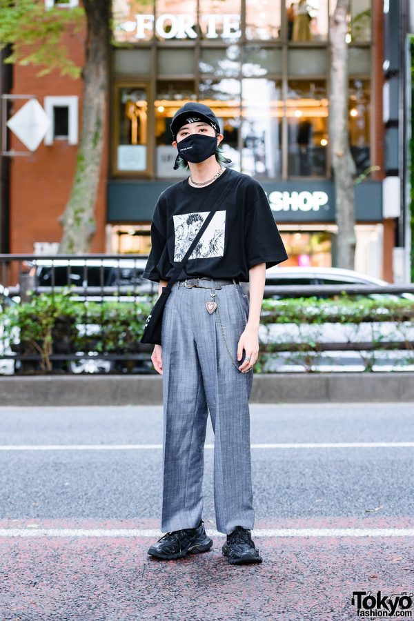 Harajuku Model's Monochrome Street Style w/ Sweet Like Honey Mask, Supreme Anime T-Shirt, Cote Mer Pinstripe Pants, Sling Bag & Balenciaga Chunky Sneakers
