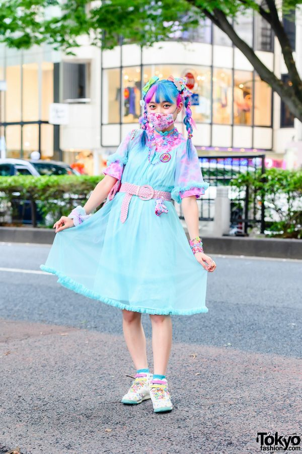 Pastel Kawaii Street Style w/ Unicorn Braids, 6%DokiDoki, Sheer Ruffle Dress, Glem Accessories, Cat Print Tote & Reebok Sneakers