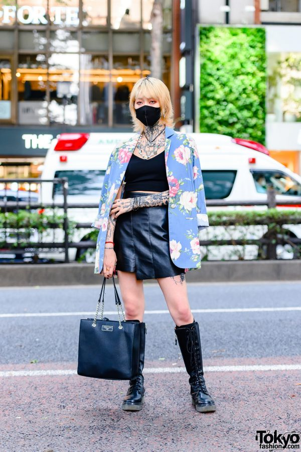 Japanese Tattoo Model in Harajuku w/ Black Mask, Funktique Floral Blazer, Belle Lingerie, Asymmetric Mini Skirt, Kendall + Kylie Tote & Open The Door Boots