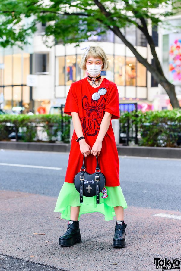 Japanese Teen Model in Harajuku w/ Fringed Bob, Dior Hair Bow, RNA T-Shirt Dress, 6%DokiDoki Chokers, Jamie ANK Heart Bag & Yosuke Platform Strap Boots