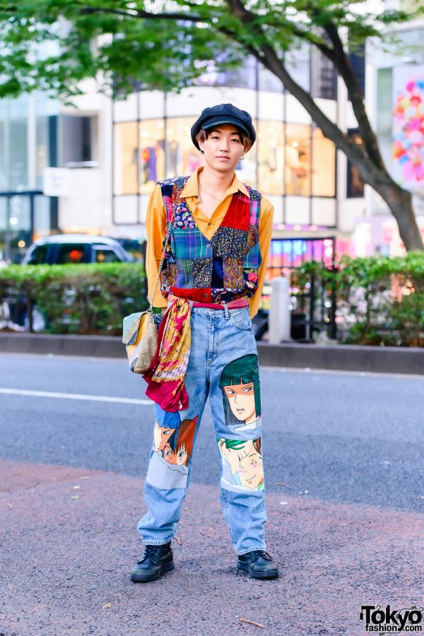 Harajuku Street Style w/ Beret, Gold Hoop Earrings, Patchwork Vest, Paul Smith, Remake Painted Jeans, Vintage Snakeskin Bag & Dr. Martens Boots