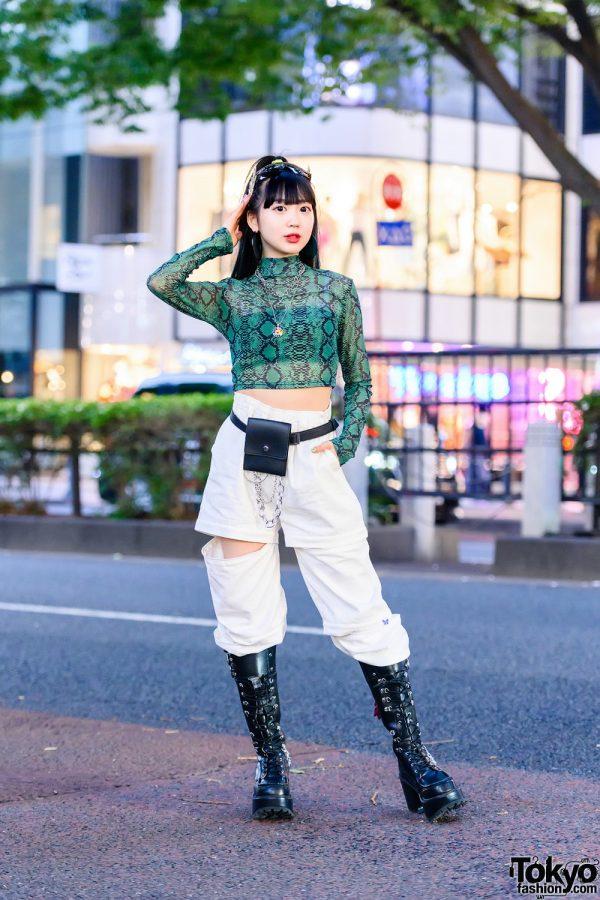 Snakeskin Crop Top Japanese Street Style w/ Aqua Hair Streaks, Jeremy Scott Sunglasses, WEGO Necklaces, WC, Cutout Pants, Belt Bag & Yosuke Boots