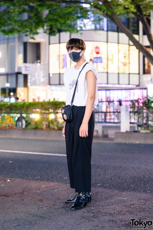 Monochrome Fashion & Minimalist Jewelry in Harajuku w/ Stussy Shirt, Wide Leg Cropped Pants, Gucci, MEI Sling Bag & Saint Laurent T-Strap Boots