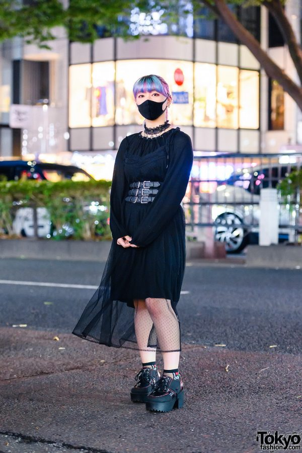 All Black Tokyo Style w/ Unicorn Ponytail, Lace Choker, Sheer Lingerie Dress Over Gypsy Dress, Corset Belt, Coach, OZZ, Mishka Backpack & Ankle Boots