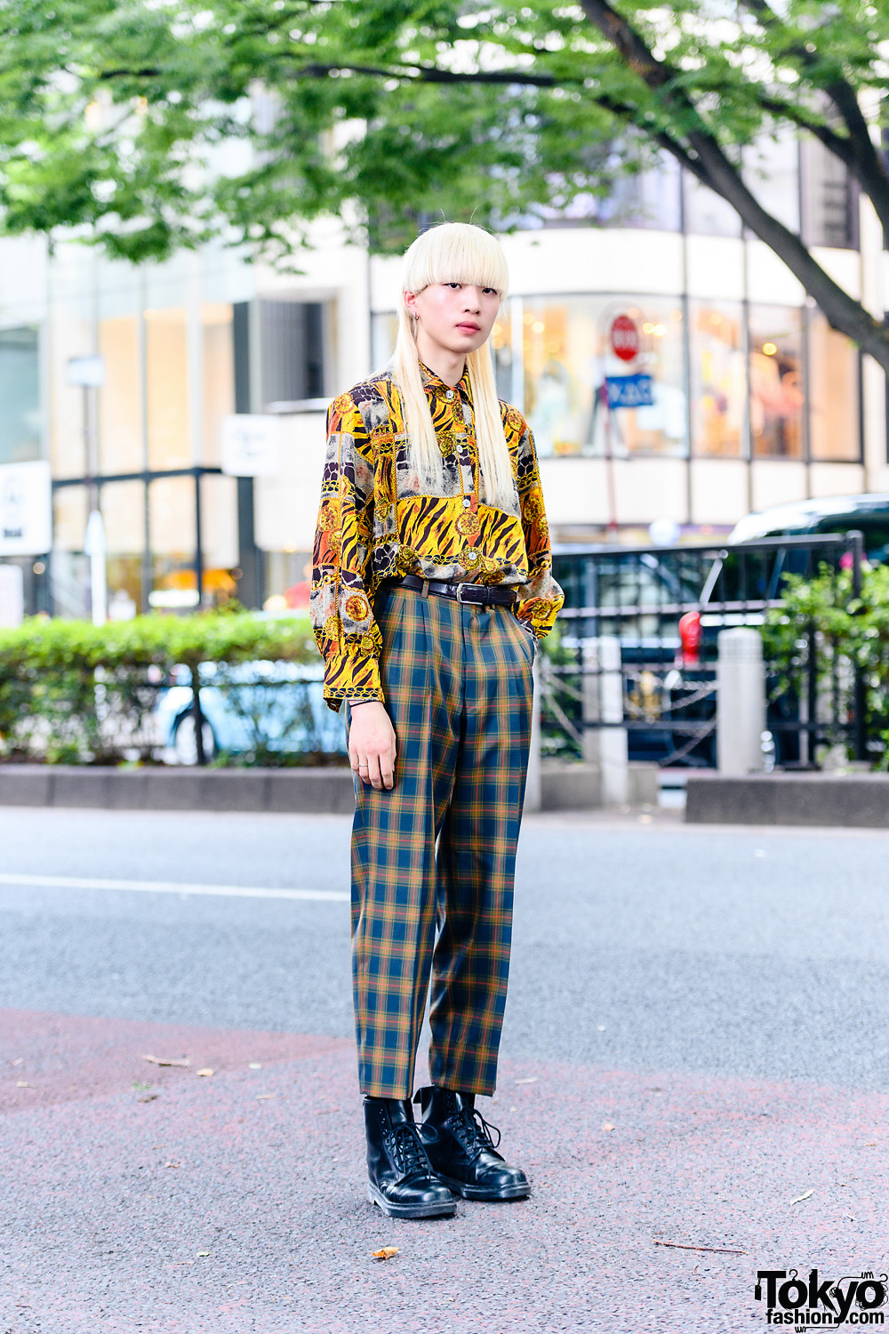 Print-on-Print Look in Harajuku w/ Blonde Ultra Mullet, Leather Belt, Abstract Print Shirt, Plaid Pants & Dr. Martens Boots