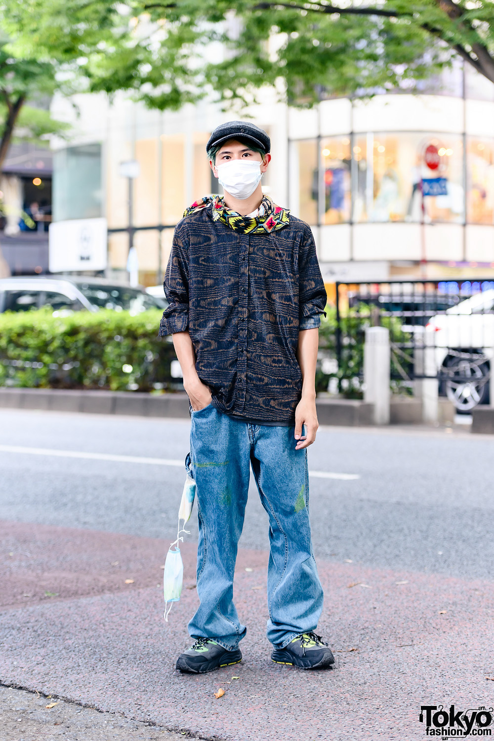International Student in Baggy Jeans Style w/ Newsboy Hat, Printed Long Sleeves, Printed Scarf, Baggy Blue Jeans, Zara Shoes & Tied-Up Face Masks Accessory