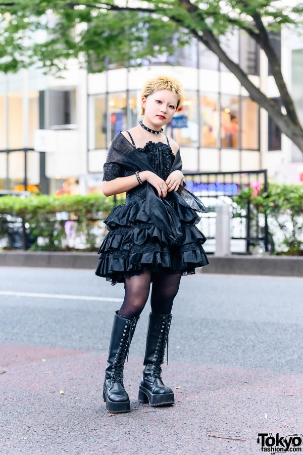 Gothic Grunge Tokyo Style w/ Cropped Hair, Spiked Choker, Tiered Corset Dress, Organza Shawl, Sheer Stockings & Demonia Knee-High Boots