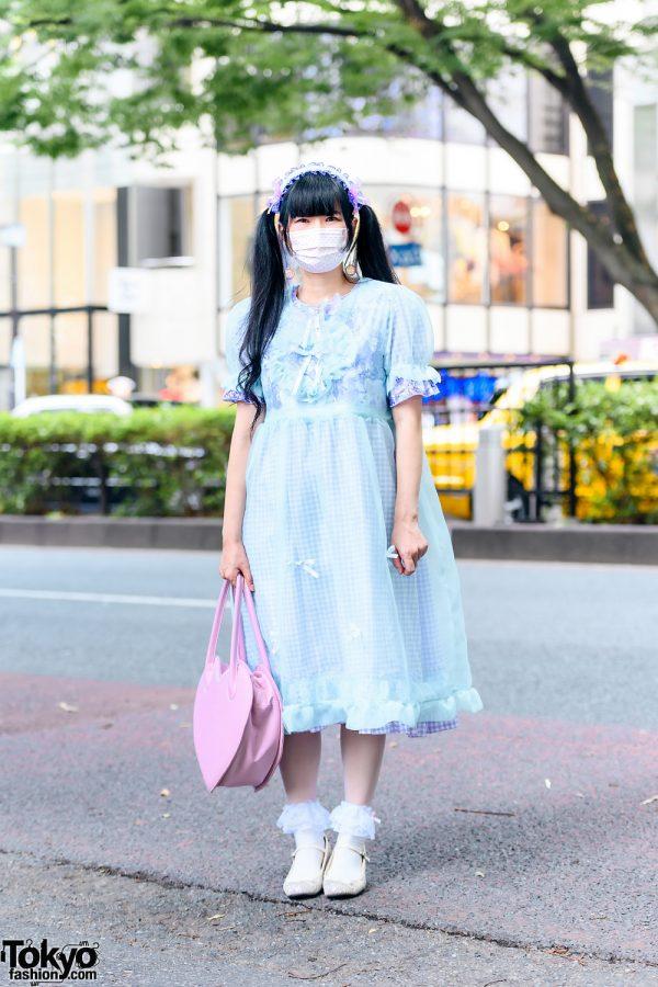 Nile Perch Pastel Style w/ Twin Tails, Ruffle Headdress, Polka Dot Mask, Gingham Dress, Milk Heart Bag & Emily Temple Cute Glitter Shoes