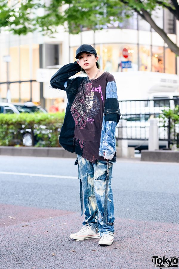 Male Model Cote Mer Fashion w/ Black Cap, Face Mask, Cote Mer Metallica Patchwork Shirt, Cote Mer Jeans, Converse Sneakers & Barbed Wire Necklace