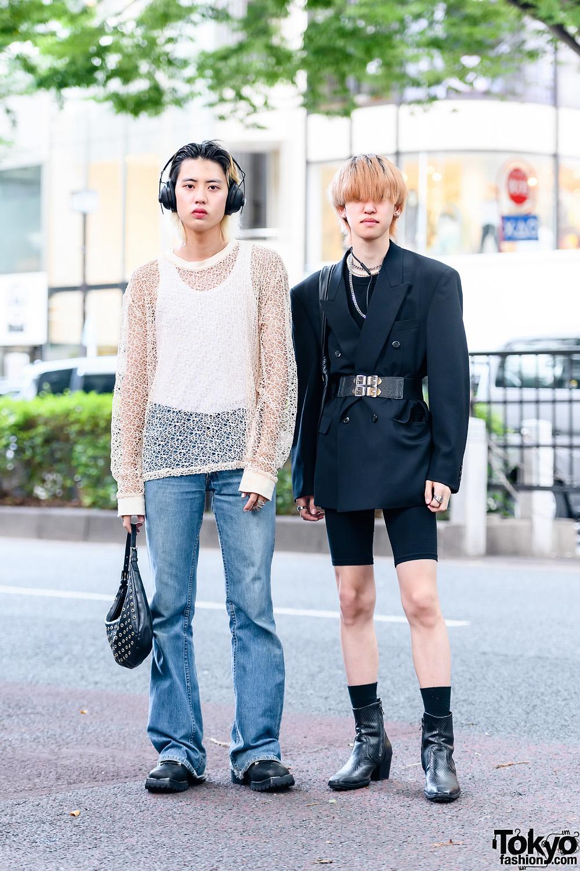 [Tokyo Mens Street Fashion w/ Two-Tone Hair, Threesix9ine, Vintage Fashion, Forever21 Cycling Shorts, Resale Fashion, Vivienne Westwood, Hobo Bag, Yosuke & John Lawrence Sullivan