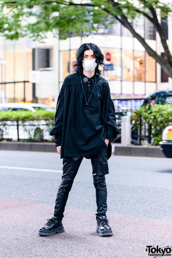 Japanese Stylist's All Black Street Style w/ Face Mask, Sacai x Beats Earphones, Christopher Nemeth Smock Top, Rick Owens Memphis Leather Trousers & Eytys Leather Shoes