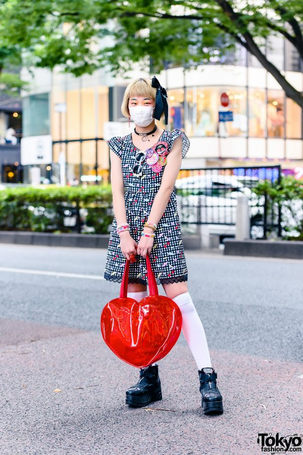 Japanese Teen Model w/ Oversized Hair Bow, Sunflower Sunglasses, O-Ring Choker, 6%DokiDoki Gingham Cherry Print Dress, Resale Heart Bag, Stacked Jewelry & Yosuke Strap Boots