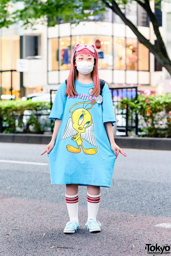 Pink-Haired Japanese Cartoonist's Street Style w/ Teddy Bear Sleeping Eye Mask, Zipper Earrings, San To Nibun No Ichi Tweety Bird T-Shirt Dress, JanSport Backpack & Converse