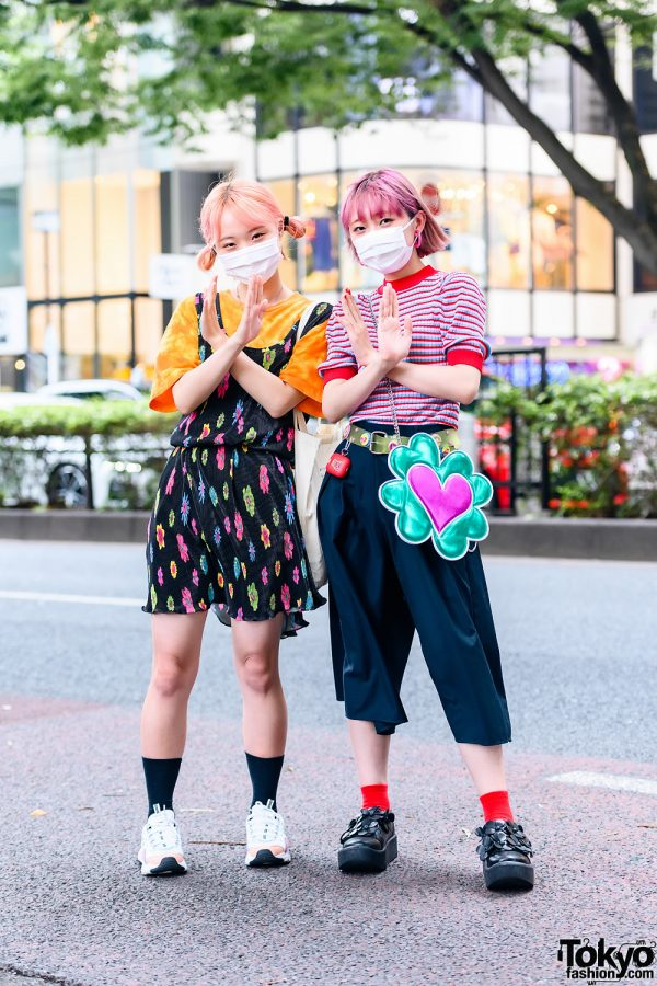 Japanese Fashion College Students w/ Peach Twin Buns, Pink Fringed Bob, Bottle Cap Belt, Floral Print Dress, Jouetie, Culotte Pants, Peco Club, Tokyo Bopper, Skechers & Clover Heart Bag