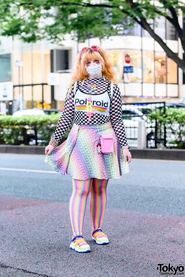 Kawaii Rainbow Streetwear Style w/ Cyber Hair Falls, Dripping Rainbow Eye Makeup, Perler Bead Necklace, Polaroid Cropped Top, Rainbow Fishnets, Current Mood Butterfly Backpack & Yoki Sneakers