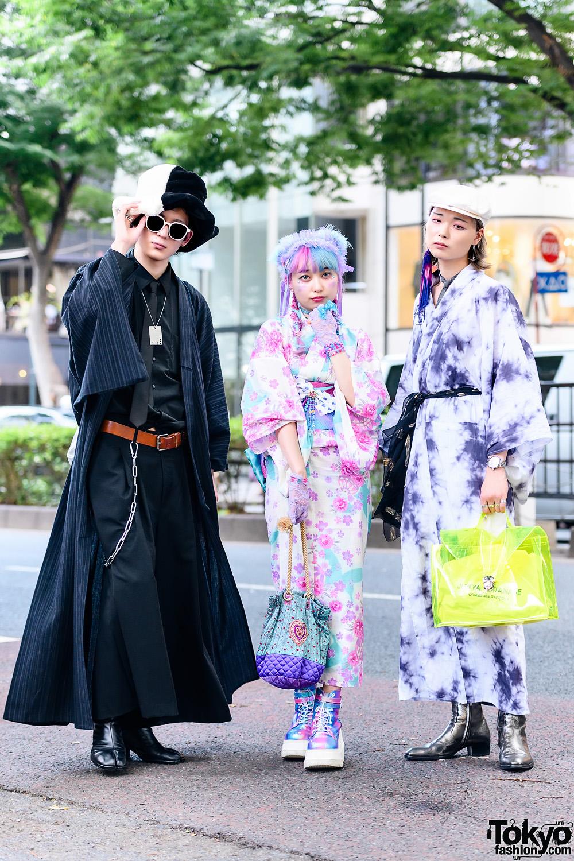 Japanese Summer Kimono Fashion w/ Unicorn Hair, AnkoROCK Hat, Floral Yukata, LAD Musician, Junya Watanabe, Saint Laurent, Demonia & Maison Margiela Tabi Boots