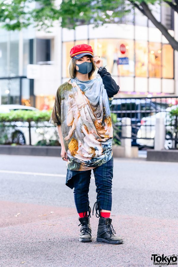 [Do Not Post]Painist, Composer and DJ in Red Conductor Hat, Vivienne Westwood Men Drape Shirt, Milkboy Checkered Pants, Dr. Martens Boots and Milkboy Accessories